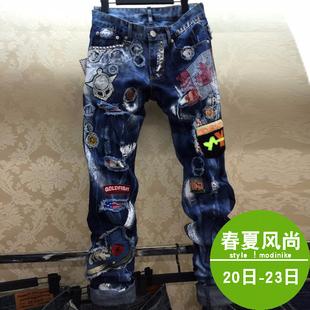 秋季潮牌牛仔裤男破洞修身直筒欧美宽松日系复古韩版长裤子补丁裤