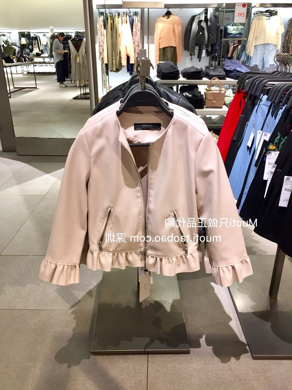西班牙女装3046/044短款中袖荷叶边仿皮夹克外套皮衣3046044