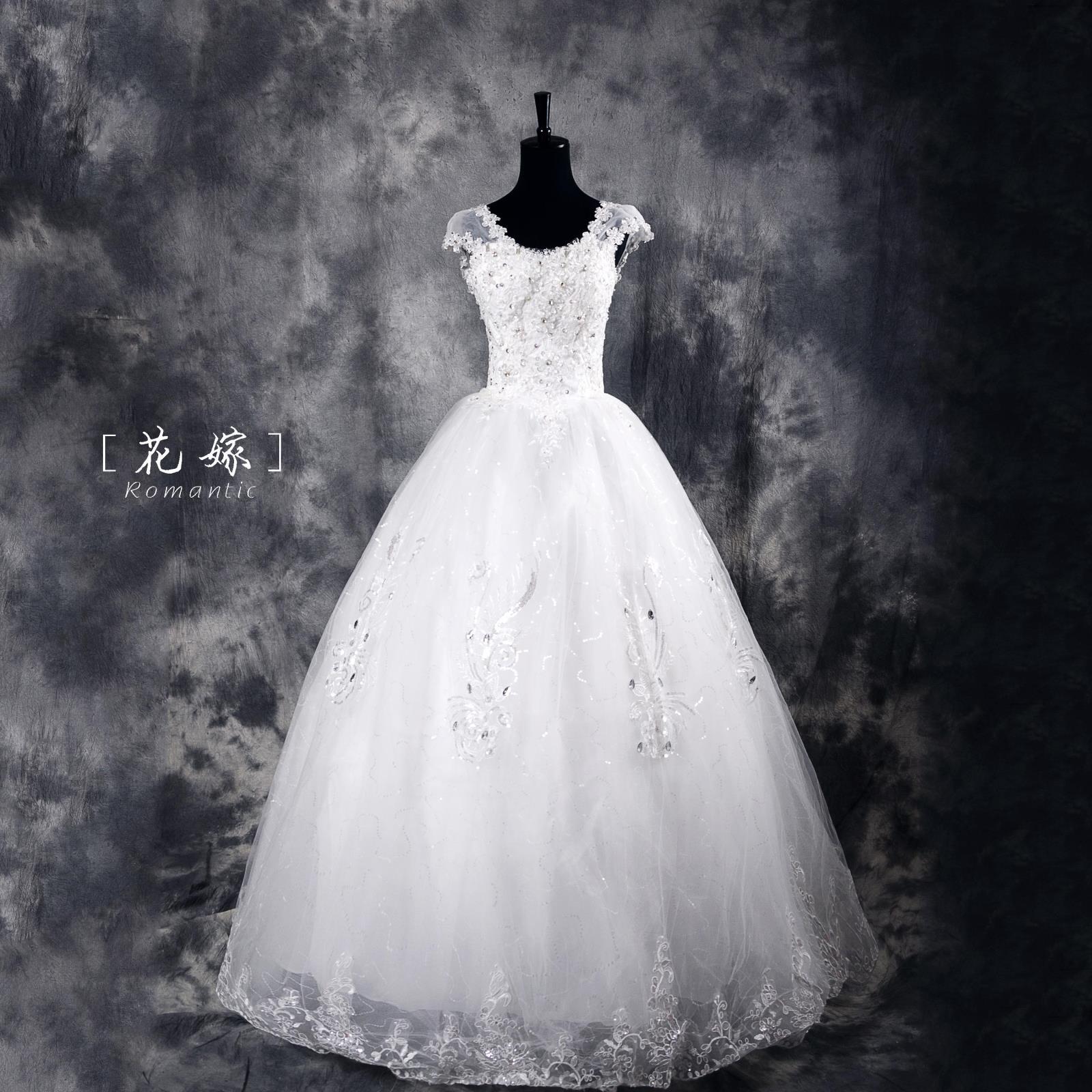 婚纱2015年春礼服有袖款镶钻修身显瘦女装新款简约花嫁户外草坪