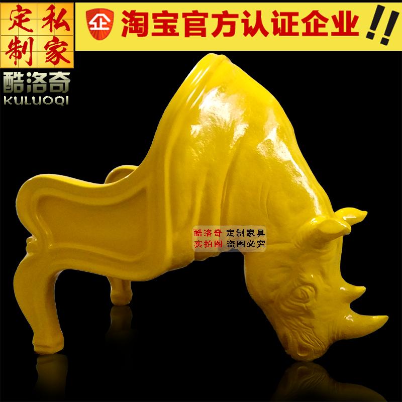 创意豪华动物座椅犀牛椅玻璃钢休闲椅子牛头雕塑设计