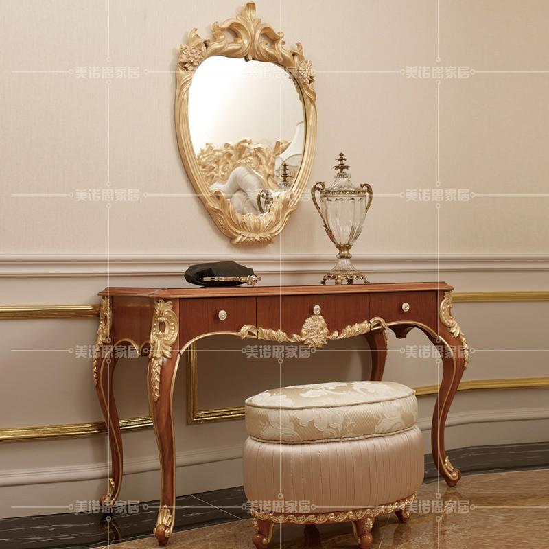 欧式实木雕花梳妆台卧室田园迷你化妆桌贵族奢华化妆