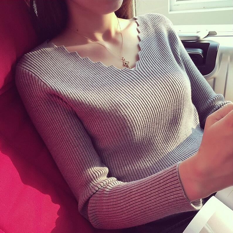 秋冬新款套头毛衣波浪V领显瘦针织衫弹力长袖修身打底衫女士上衣