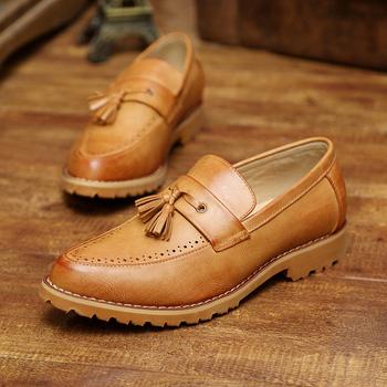 皮鞋男生英伦布洛克尖头休闲皮鞋