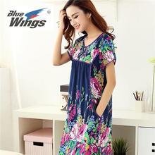 端午节促销韩版纯棉大码女人睡衣短袖薄款妈妈便宜中年睡裙特价