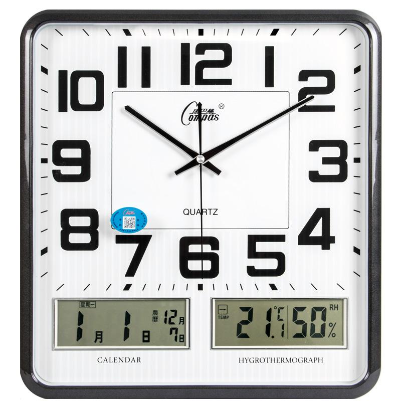康巴丝(Compas) 挂钟14英寸温湿度计静音创意客厅双日历挂表钟表