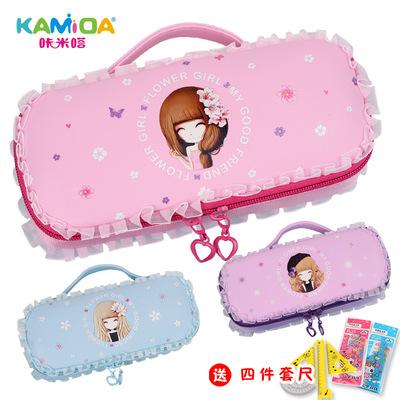 咔米嗒花花姑娘笔袋小学生女生多功能可爱公主手提笔袋儿童文具盒
