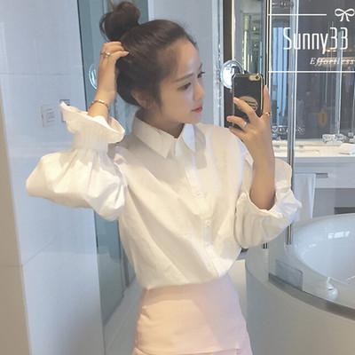 2017春装新款学院风泡泡袖长袖白色衬衫韩版宽松百搭衬衣女学生潮