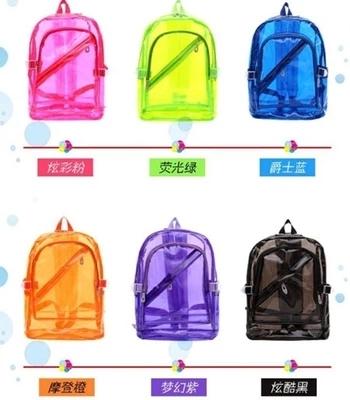 2016果冻包糖果色透明包新款荧光色双肩包男女韩版潮中学生书包
