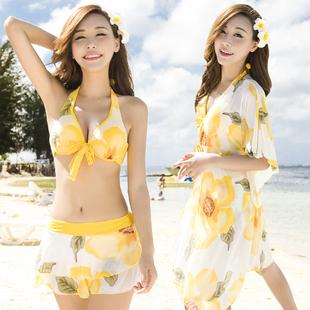 泳衣女三件套比基尼分体裙式保守遮肚小胸钢托聚拢性感温泉游泳衣