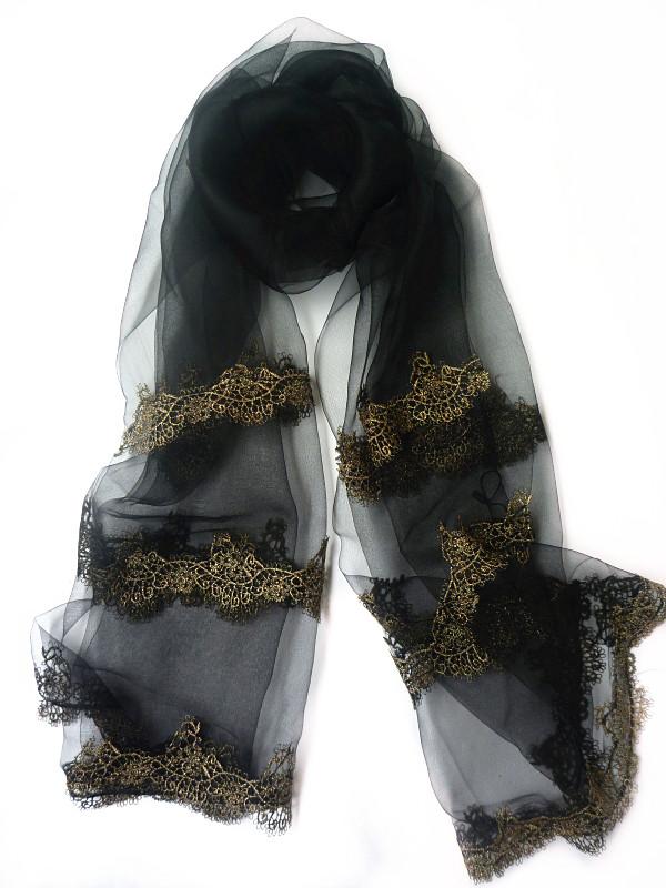真丝丝巾蕾丝花边素色围巾欧根纱纱巾时尚高档披肩沙滩巾女士配饰