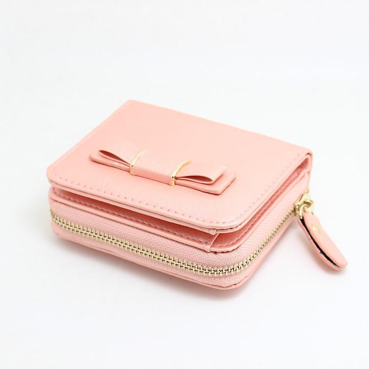日系可爱甜美糖果色新款蝴蝶结搭扣拉链零钱包两折短