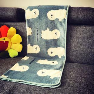 个性时尚可爱蓝色比熊法莱绒毛毯盖毯办公室盖膝毯子