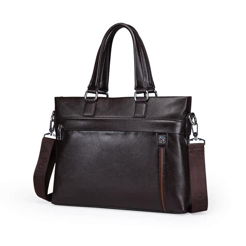 男包手提包商务大容量公务包办公电脑包单肩包男斜挎包横竖款皮包