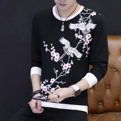 秋季套头卫衣男圆领上衣男士长袖t恤男小衫韩版纯棉印花潮牌男装