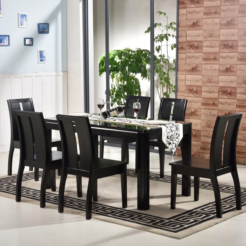 华人顾家 简约时尚现代餐桌椅组合6人4人小户型钢化t
