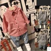 2017春童装男女童长袖衬衫条纹百搭韩版儿童修身打底衫上衣
