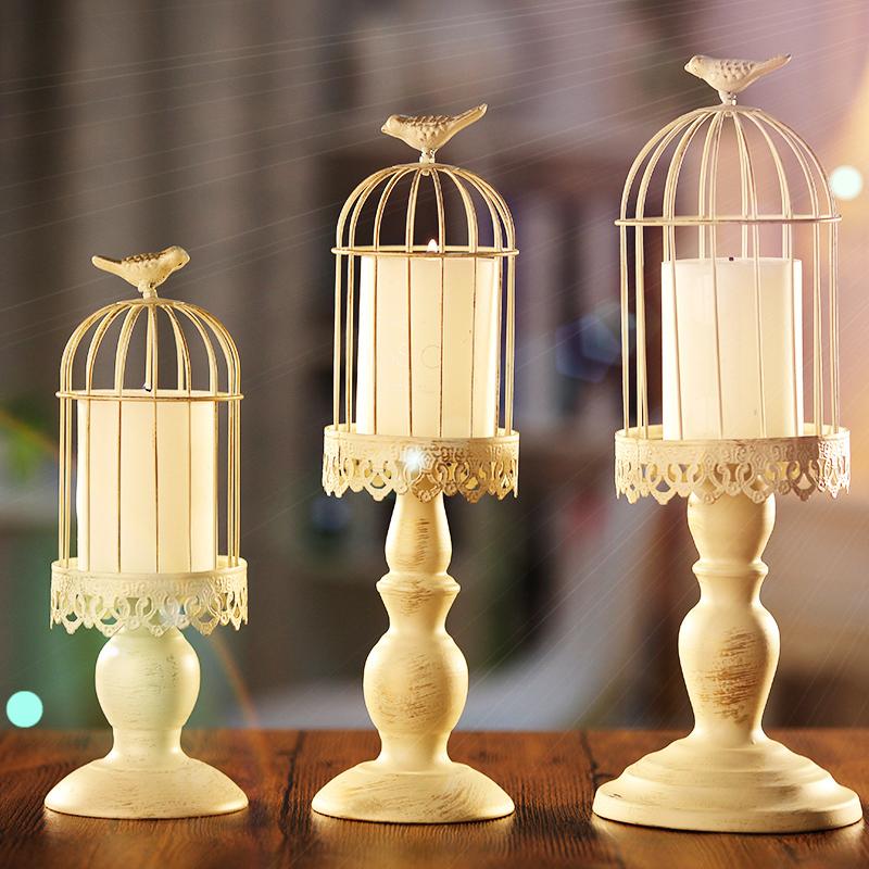 欧式铁艺时尚鸟笼复古怀旧蜡烛台烛台家居餐厅摆件品