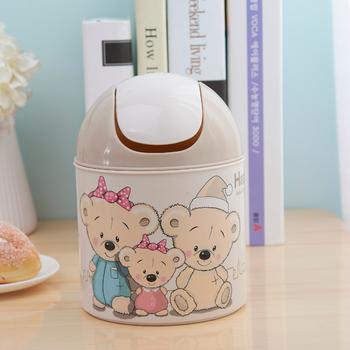 顺美快乐熊欧式家用摇盖垃圾桶