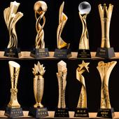 奖杯 树脂奖杯 创意水晶奖杯定制足球篮球高档五角星奖杯刻字制作