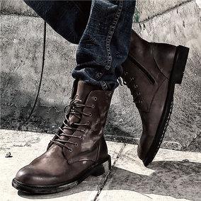 马丁靴靴子男潮流冬季男鞋高帮皮鞋复古加绒中帮秋季棉鞋英伦军靴