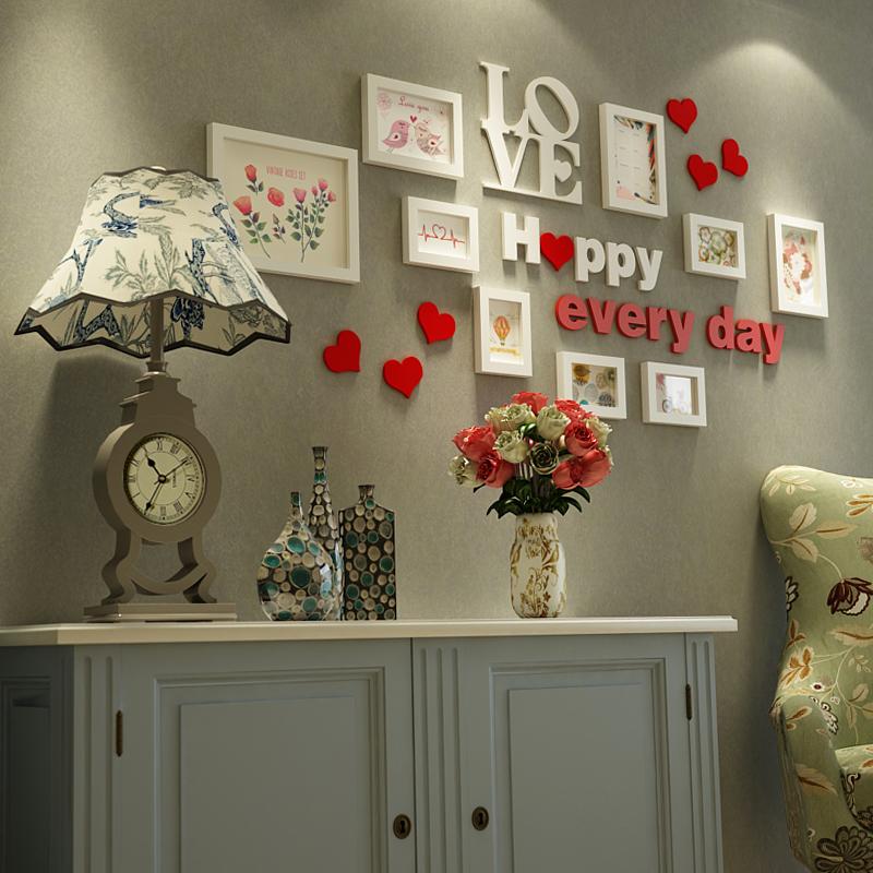 欧式照片墙客厅相片墙卧室实木相框挂墙创意组合结婚