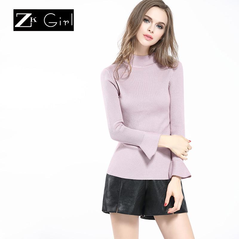 ZK Girl喇叭袖半高领针织打底衫毛衣女套头紧身毛线衣秋冬季新款