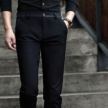 春季新款小脚裤西装裤男士商务休闲裤西裤韩版修身直筒裤子男黑色