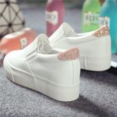 小白鞋女2016新款懒人鞋女内增高一脚蹬帆布鞋女学生韩版厚底百搭