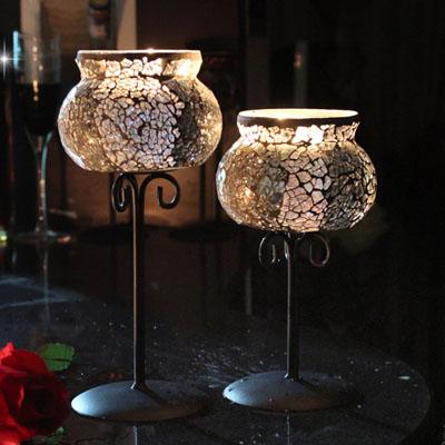 欧式铁艺玻璃马赛克高脚香薰蜡烛台杯西餐情人节烛光