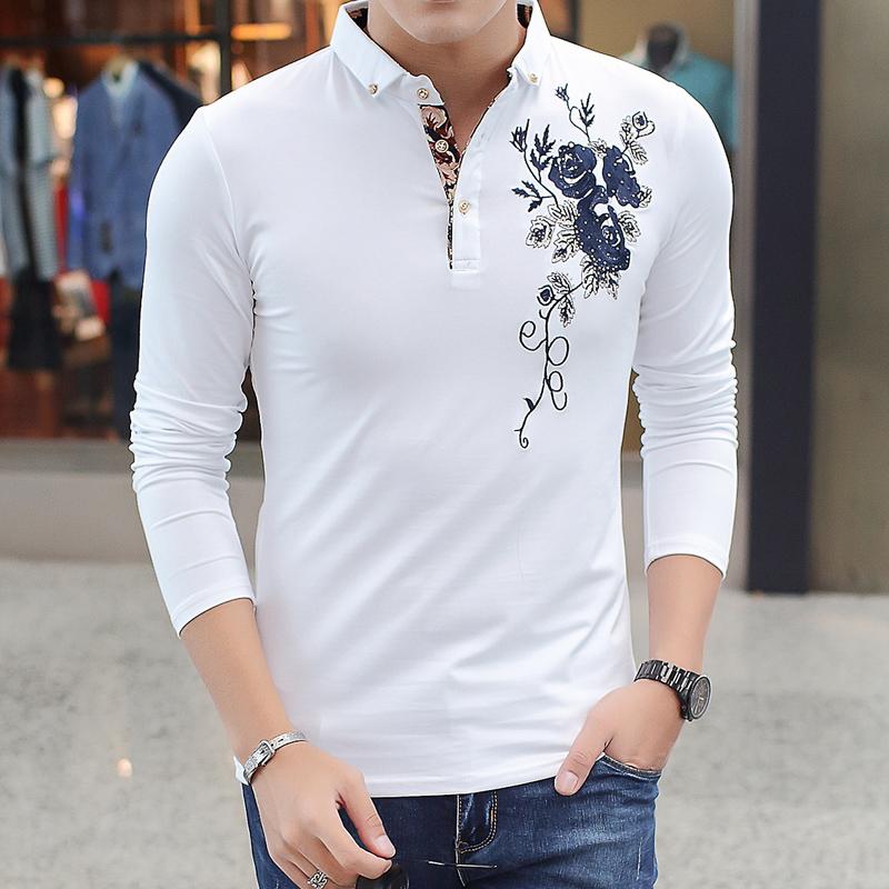 2016秋季男装衣服时尚商务绣花男士长袖POLO衫T恤