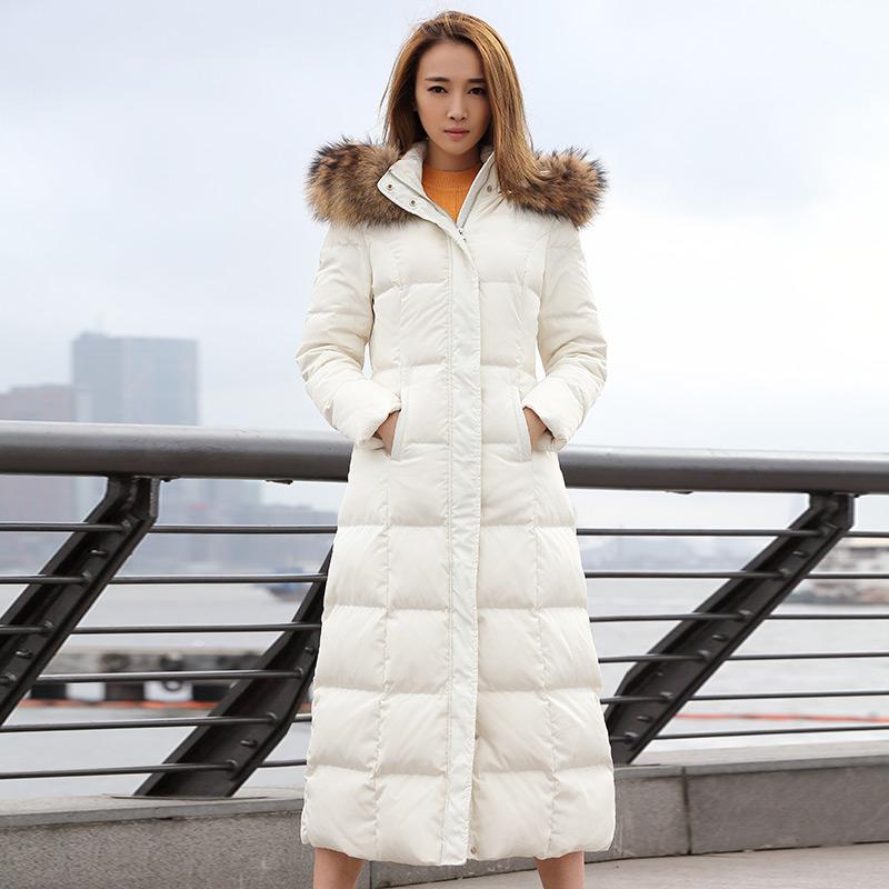 维克女爵冬季新款韩版中长款过膝修身连帽大毛领羽绒服女装外套