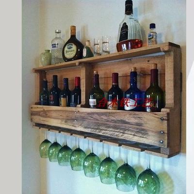 欧式实木壁挂酒架葡萄酒架红酒架置物架挂墙悬挂高脚