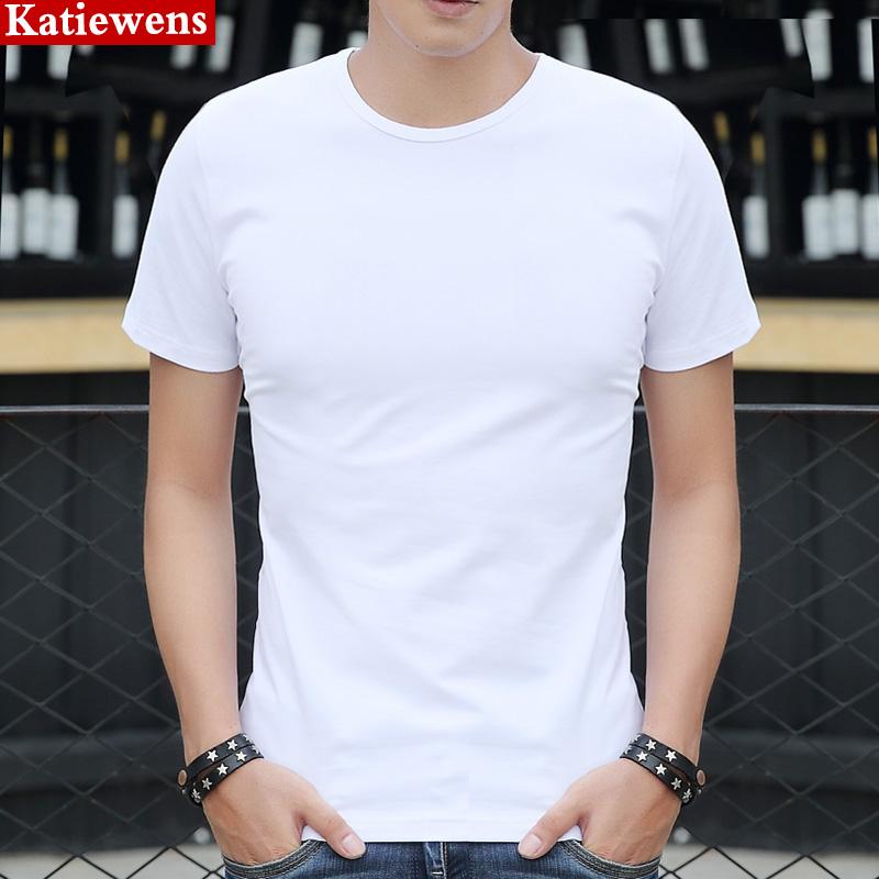 男装纯白宽松短袖夏季夏天男士休闲薄款丅血桖纯色体恤圆领