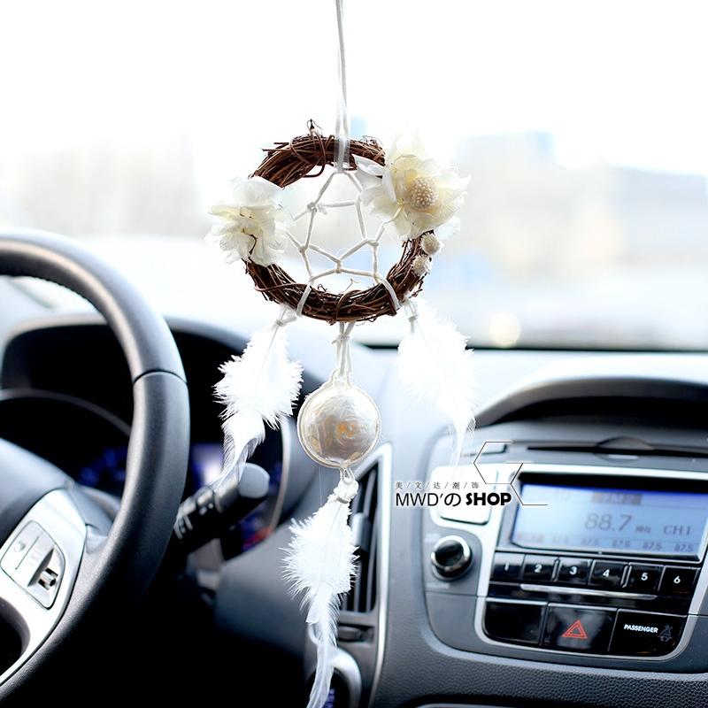 创意永生花捕梦网汽车挂件香薰车挂后视镜挂饰车内饰品挂式香水女