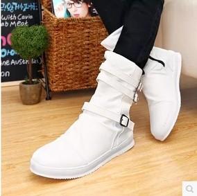 秋冬男靴马丁靴男士潮流黑白色长靴英伦工装靴军靴男士高筒皮靴子