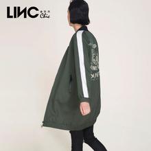 LINC金羽�芮镄驴�r尚棒球�缀跏且魂��L�W�^衫�I��性印花中�L款�L衣女7360101�D片