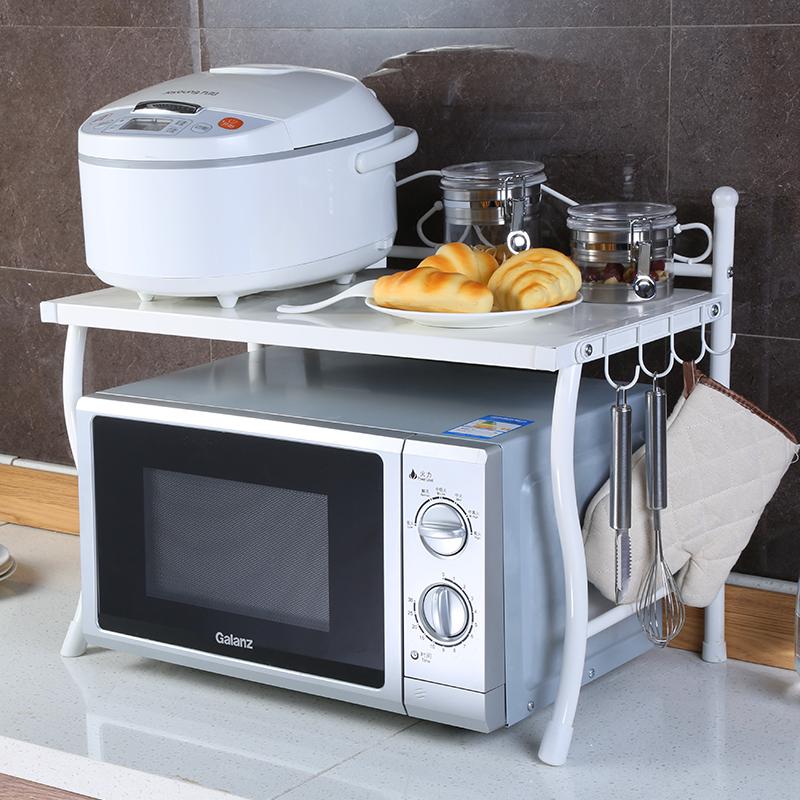 单层铁艺微波炉架厨房用品置物架1层烤箱架白色电饭煲电器收纳架