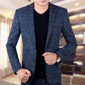 2017春季新款帅气中年男士商务休闲小西装男修身韩版西服上衣外套