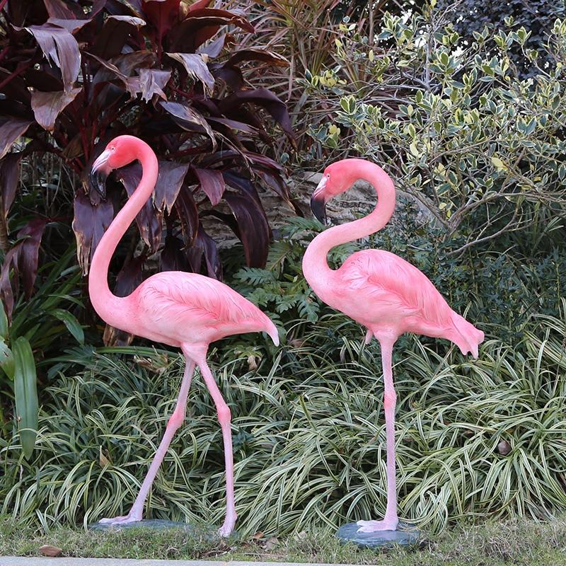 玻璃钢雕塑仿真火烈鸟摆件户外花园庭院动物婚庆道具园林景观小品