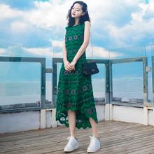 2016夏季新品中长款无袖蕾丝连衣裙长裙波西米亚海边度假沙滩裙子