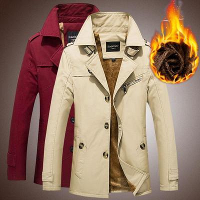 冬季男士加绒加厚中长款冬天棉衣服大码韩版修身帅气冬装外套潮流
