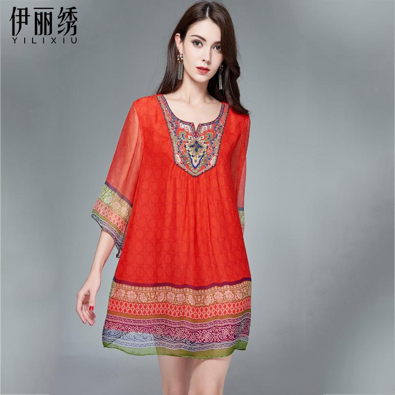民族风真丝连衣裙女夏季新款大码女装韩版时尚桑蚕丝中长款裙子