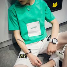 男士短袖2017新款夏季个性t恤潮流韩版宽松半袖体恤男装上衣服白