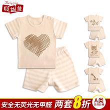 贝益佳儿童套装婴儿短袖短裤2件套纯棉童装男童女童宝宝夏装1-3岁