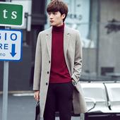 韩版男士风衣 中长款英伦男装秋冬毛呢外套修身呢子休闲大衣潮