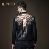 PINLI品立春季时尚新品男装 修身棒球领领夹克男外套潮B163604343
