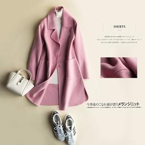 秋冬装新款韩版双面羊毛呢大衣女外套中长款双面羊毛大衣风衣
