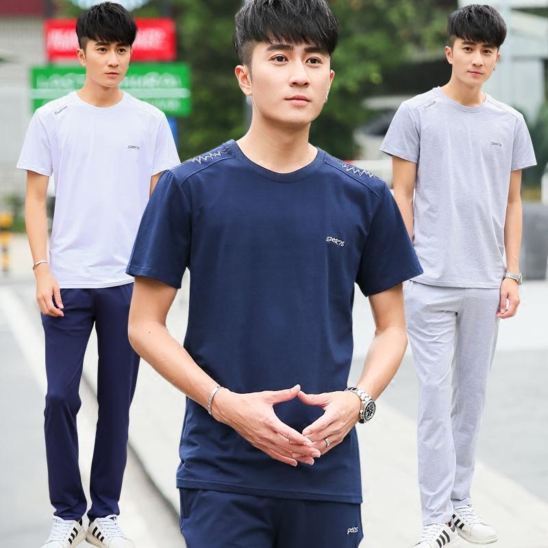 夏季長褲運動套裝棉簿款短袖寬松跑步透氣休閑兩件套運動裝