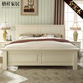 美式乡村全实木床1.5米1.8米简约新中式双人床卧室家具韩式田园床