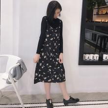 2017韩国中长款复古无袖吊带裙甜美印花雏菊中长款裙子碎花连衣裙